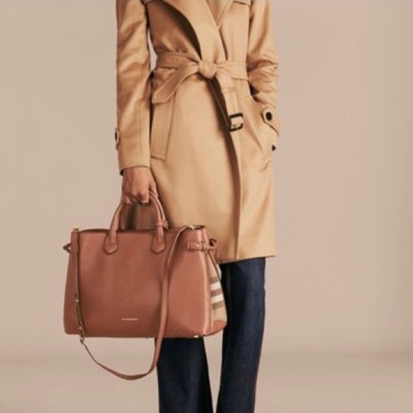 Burberry Banner Tan Nova Check Side Medium Bag